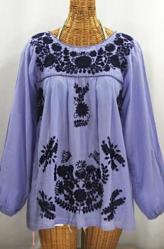"""""""La Mariposa Larga"""" Embroidered Mexican Style Peasant Top - Periwinkle + Navy"""
