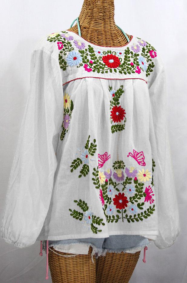 """""""La Mariposa Larga de Color"""" Longsleeve Mexican Blouse - White"""