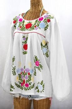 """""""La Mariposa Larga de Color"""" Longsleeve Mexican Blouse - White + Bold"""