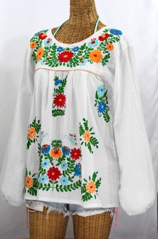 """La Mariposa Larga de Color"" Longsleeve Mexican Blouse - White + Fiesta"