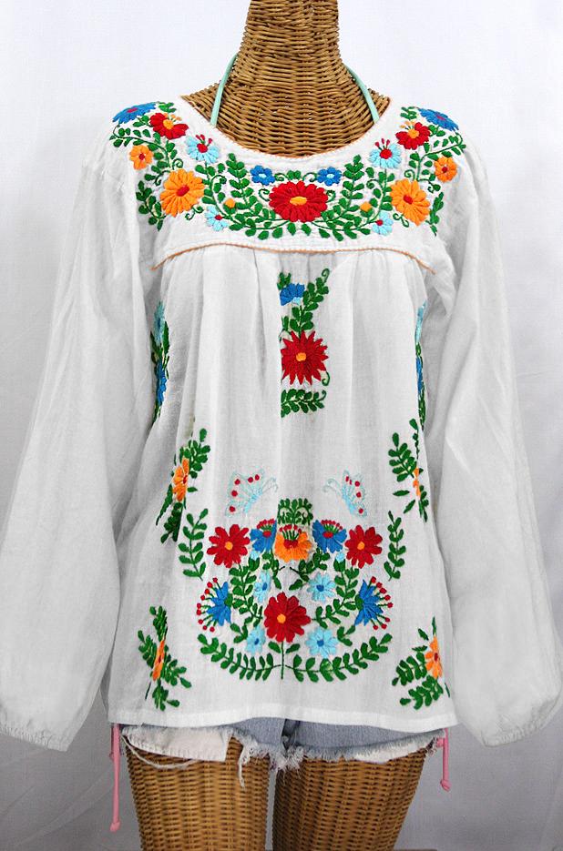 """La Mariposa Larga de Color"" Longsleeve Mexican Blouse - White + Fiesta"