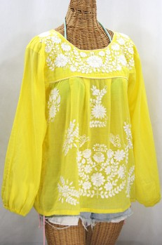"""""""La Mariposa Larga"""" Embroidered Mexican Style Peasant Top - Yellow + White"""