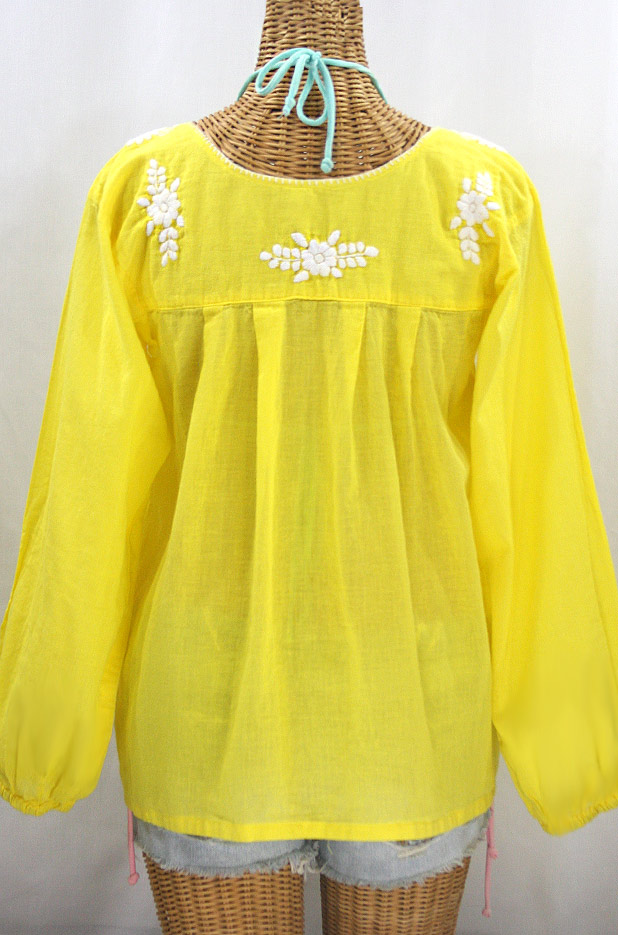 """La Mariposa Larga"" Embroidered Mexican Style Peasant Top - Yellow + White"