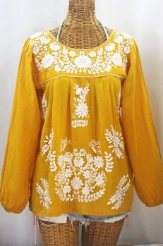 """""""La Mariposa Larga de Color"""" Long Sleeve Mexican Blouse - Honey Gold + White"""