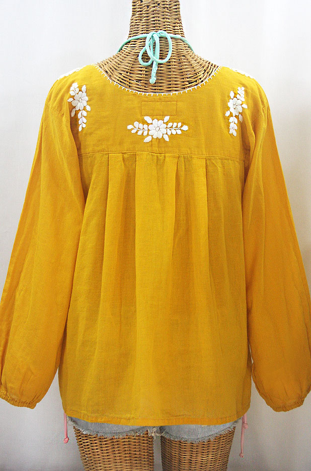 """La Mariposa Larga de Color"" Long Sleeve Mexican Blouse - Honey Gold + White"