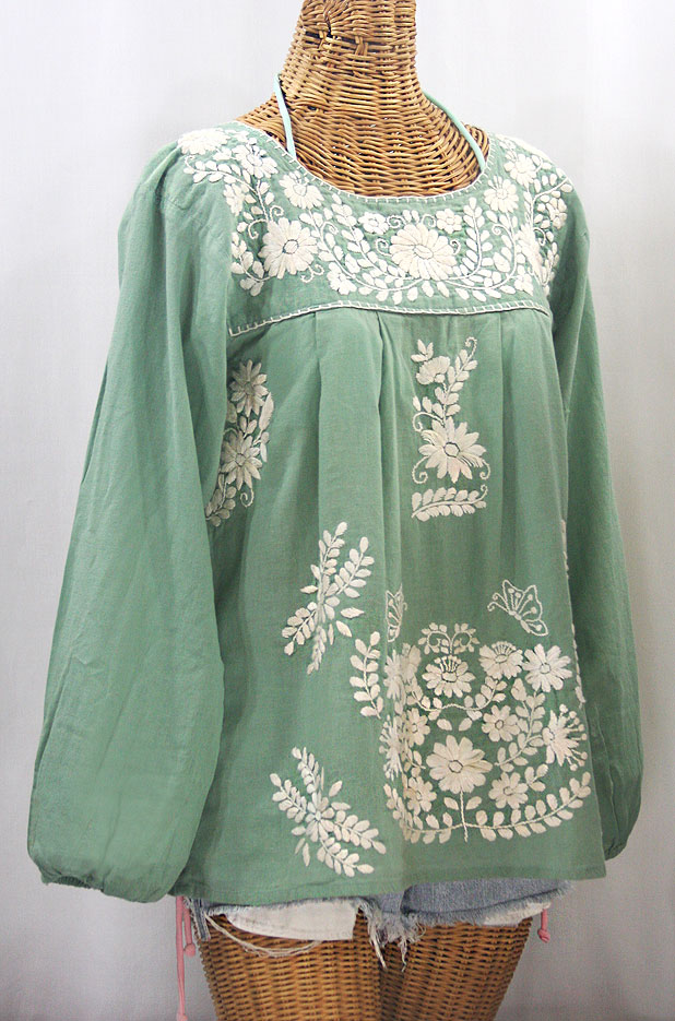 """La Mariposa Larga de Color"" Long Sleeve Mexican Blouse - Sage Green + Cream"