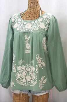 """La Mariposa Larga de Color"" Long Sleeve Mexican Blouse - Sage Green + Cream"