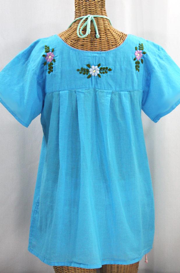 """La Mariposa Libre"" Plus Size Mexican Peasant Blouse - Aqua + Multi"
