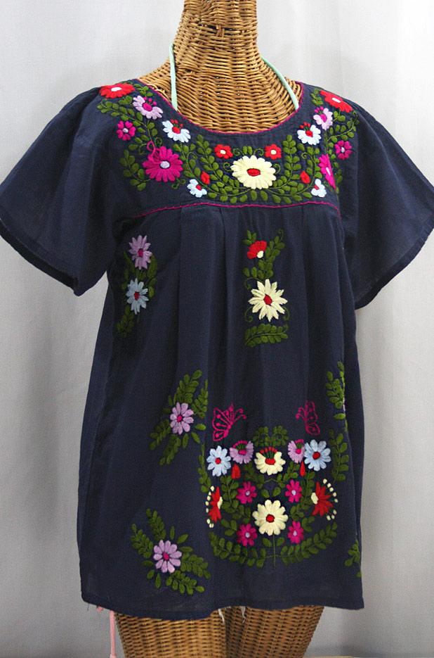 """""""La Mariposa Libre"""" Plus Size Mexican Peasant Blouse - Navy + Multi"""
