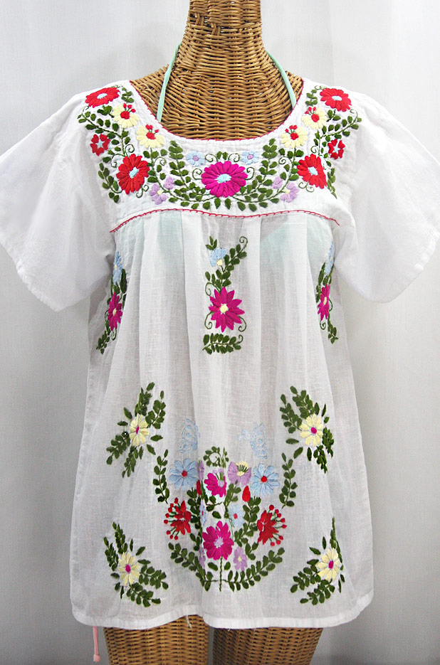 """La Mariposa Libre"" Plus Size Mexican Peasant Blouse - White + Multi"