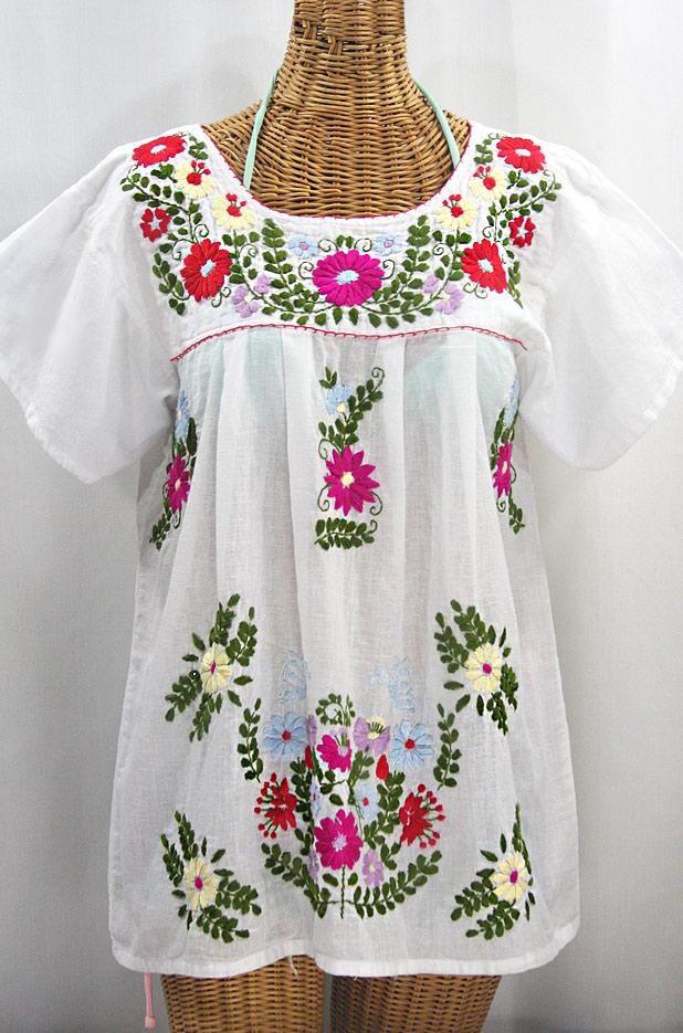 """La Mariposa Libre"" Plus Size Mexican Peasant Blouse - White + Multi"