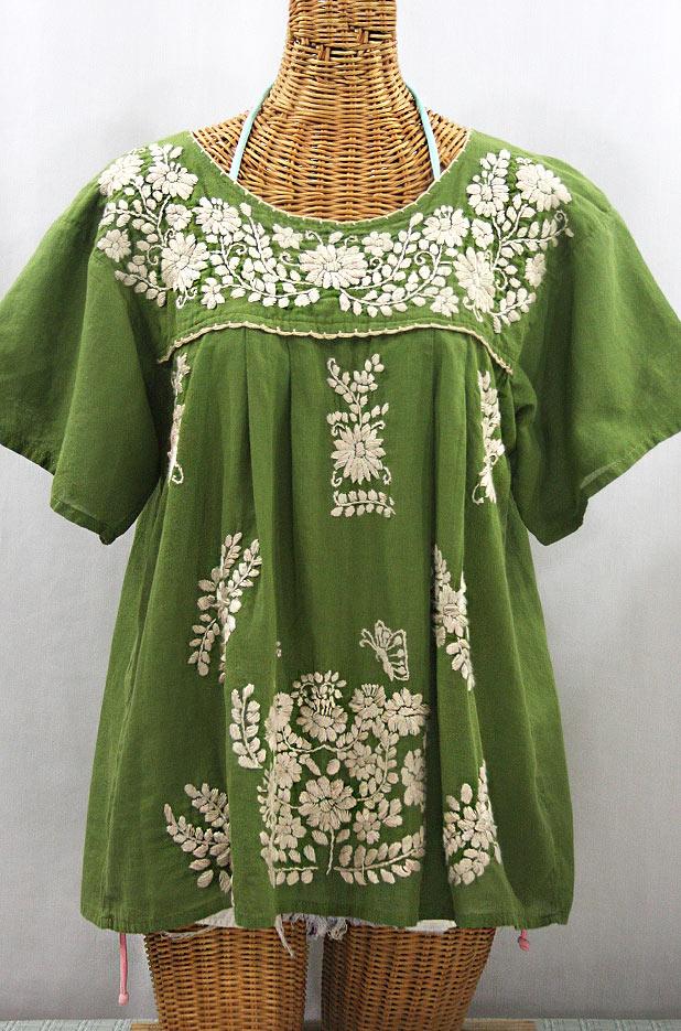 """La Mariposa Libre"" Plus Size Mexican Peasant Blouse - Fern Green + Cream"