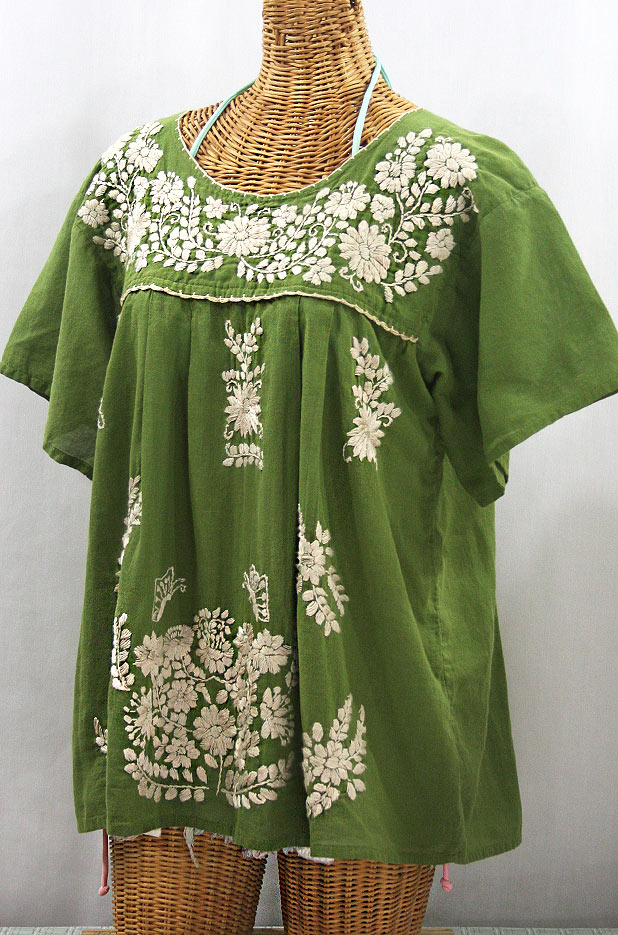 """La Mariposa Libre"" Plus Size Mexican Peasant Blouse - Fern Green + Cream"