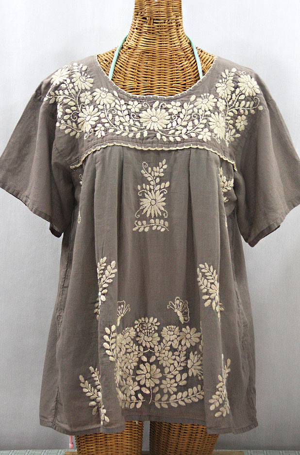 """La Mariposa Libre"" Plus Size Mexican Peasant Blouse - Fog + Cream"