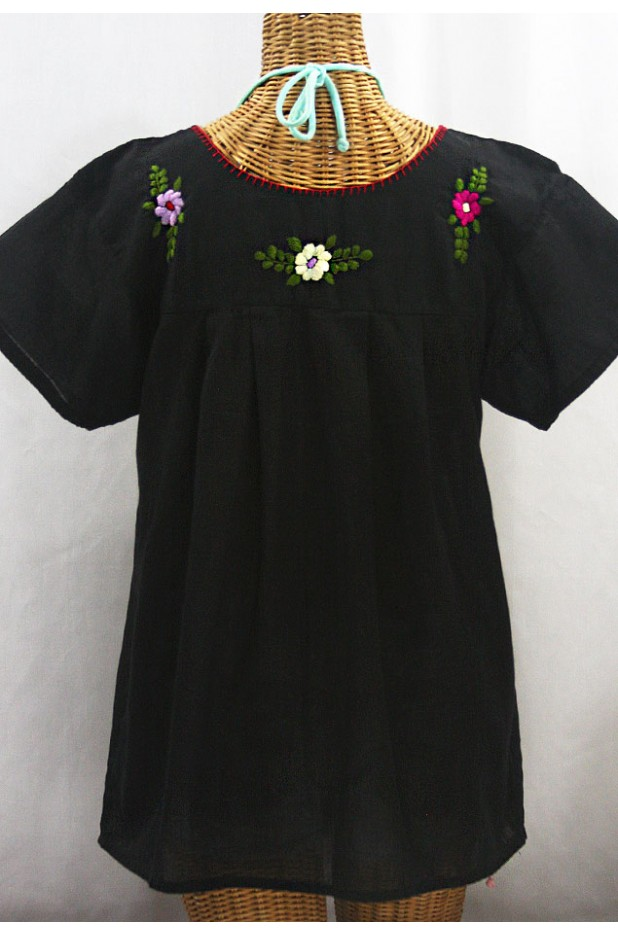 """La Mariposa Libre"" Plus Size Mexican Peasant Blouse - Black + Multi"