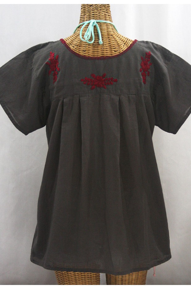 """La Mariposa Libre"" Plus Size Mexican Peasant Blouse - Charcoal + Burgundy"