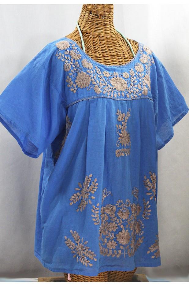 """La Mariposa Libre"" Plus Size Mexican Peasant Blouse - Light Blue + Cocoa"