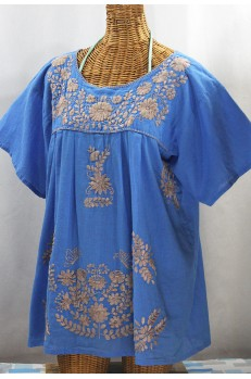 """La Mariposa Libre"" Plus Size Mexican Peasant Blouse - Light Blue + Cocoa"