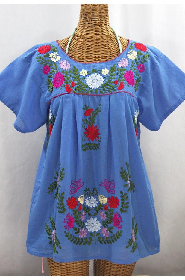 """""""La Mariposa Libre"""" Plus Size Mexican Peasant Blouse - Light Blue + Multi"""
