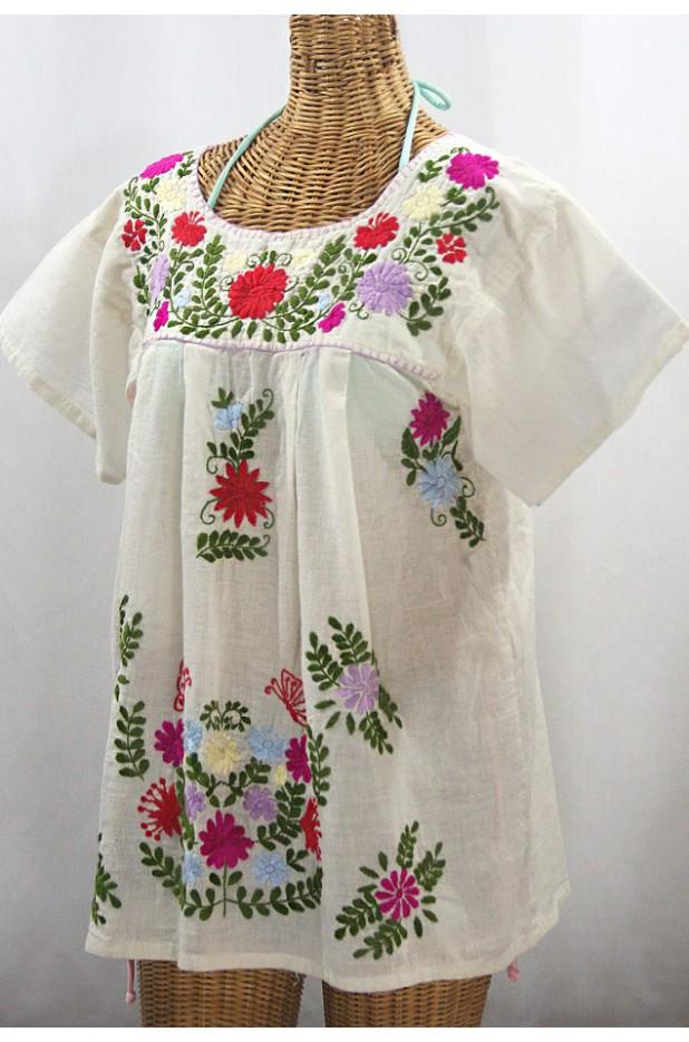 """La Mariposa Libre"" Plus Size Mexican Peasant Blouse - Off White + Multi"