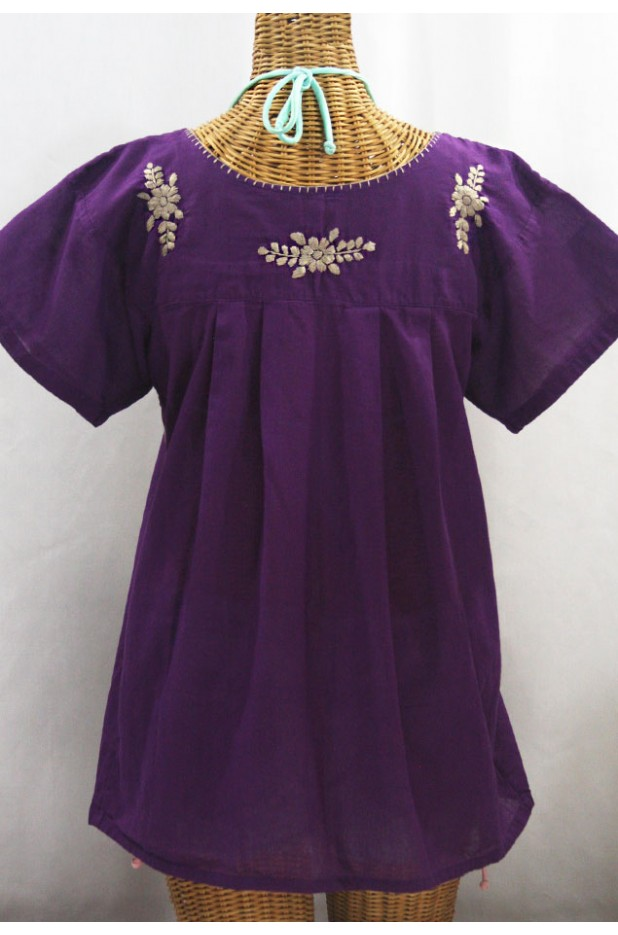 """""""La Mariposa Libre"""" Plus Size Mexican Peasant Blouse - Purple + Cocoa"""