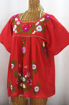 """La Mariposa Libre"" Plus Size Mexican Peasant Blouse - Tomato Red + Multi"
