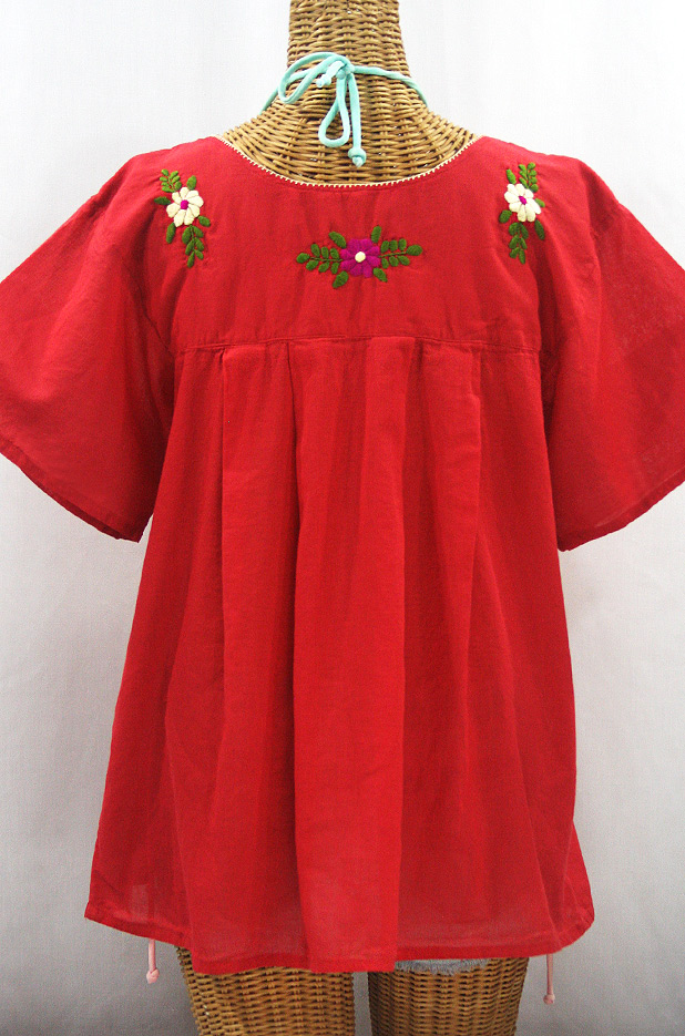 """""""La Mariposa Libre"""" Plus Size Mexican Peasant Blouse - Tomato Red + Multi"""