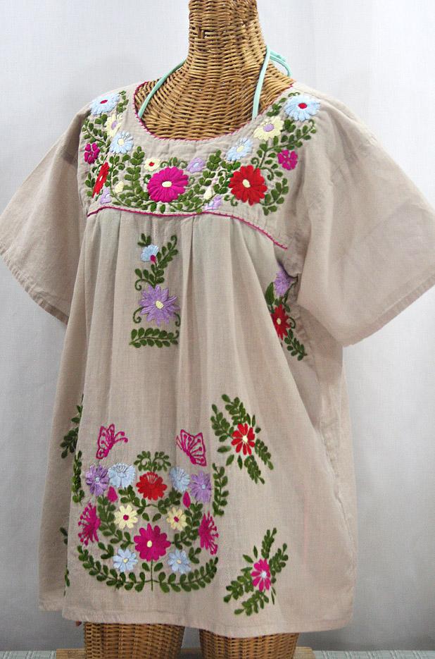 """""""La Mariposa Libre"""" Plus Size Mexican Peasant Blouse - Greige + Multi"""