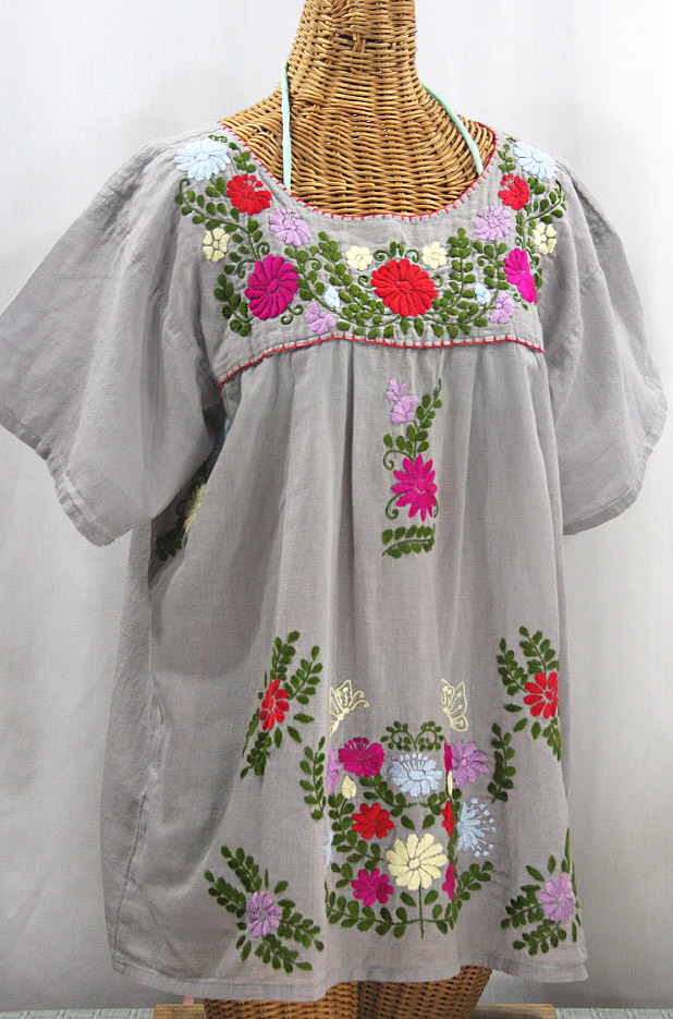 """La Mariposa Libre"" Plus Size Mexican Peasant Blouse - Grey + Multi"