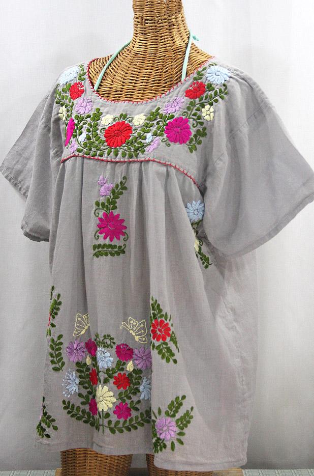 """La Mariposa Libre"" Plus Size Mexican Peasant Blouse - Grey + Multi"
