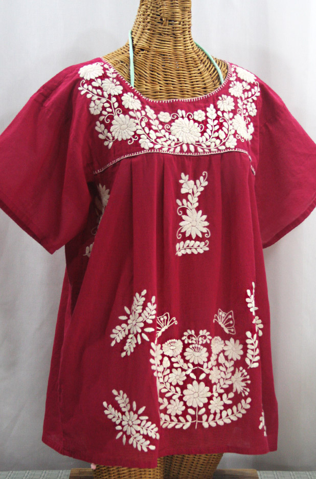 """La Mariposa Libre"" Plus Size Mexican Peasant Blouse - Raspberry + Cream"