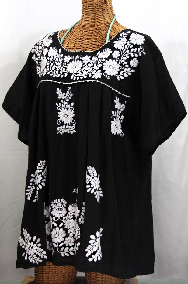"""""""La Mariposa Libre"""" Plus Size Mexican Peasant Blouse - Black"""