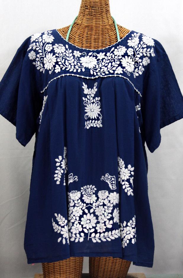 """""""La Mariposa Libre"""" Plus Size Mexican Blouse - Denim Blue"""