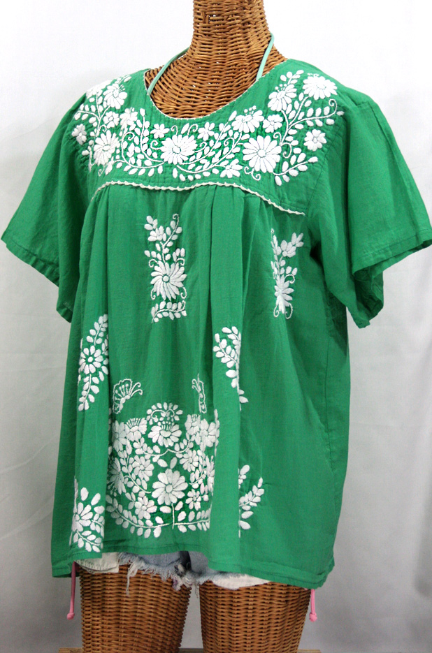 """La Mariposa Libre"" Plus Size Mexican Blouse - Green"