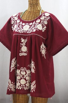 """La Mariposa Libre"" Plus Size Mexican Peasant Blouse - Burgundy + Cream"