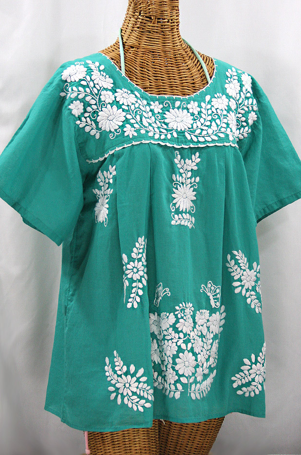 """La Mariposa Libre"" Plus Size Mexican Peasant Blouse - Mint Green"