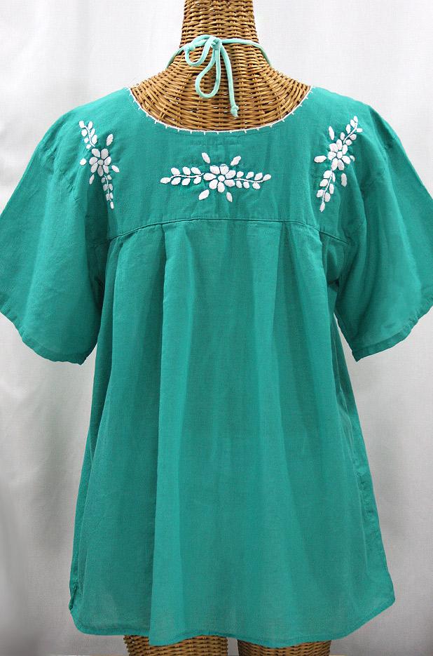 """La Mariposa Libre"" Plus Size Mexican Peasant Blouse - Mint Green"