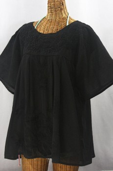 """La Mariposa Libre"" Plus Size Mexican Peasant Blouse - All Black"