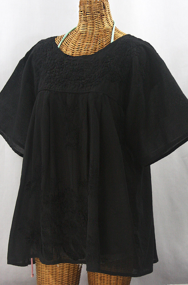 """La Mariposa Libre"" Plus Size Mexican Peasant Blouse - All Black"