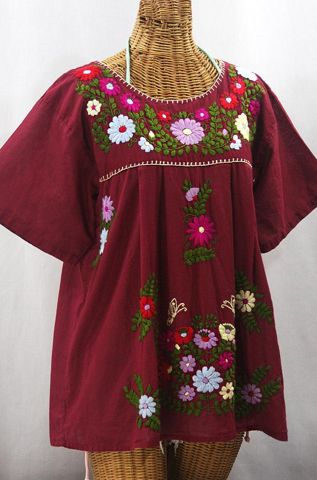 """La Mariposa Libre"" Plus Size Mexican Peasant Blouse - Burgundy + Multi"