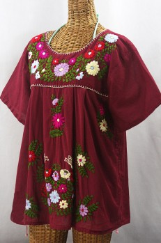 """La Mariposa Libre"" Plus Size Mexican Peasant Blouse - Burgundy + Multi"