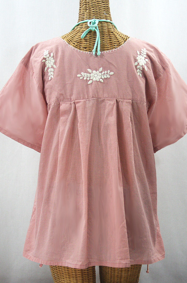 """La Mariposa Libre"" Plus Size Mexican Peasant Blouse - Dusty Light Pink + Cream"