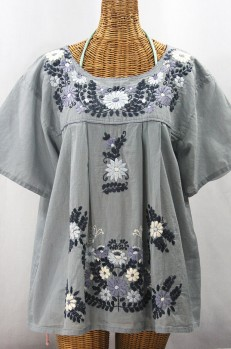 """La Mariposa Libre"" Plus Size Mexican Peasant Blouse - Grey + Grey Mix"