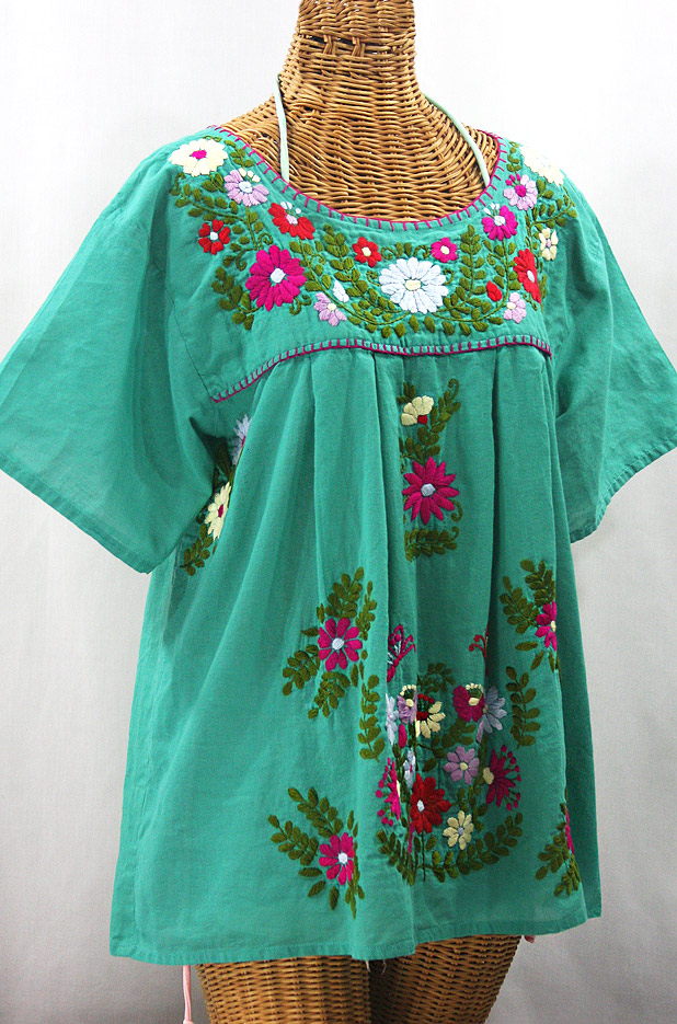 """La Mariposa Libre"" Plus Size Mexican Peasant Blouse - Mint + Multi"