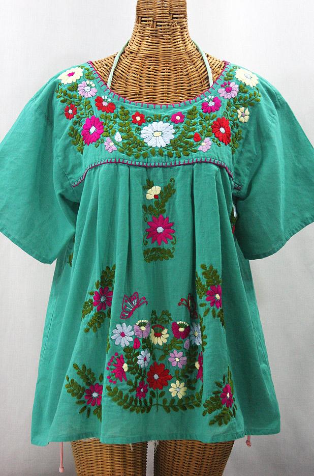 """""""La Mariposa Libre"""" Plus Size Mexican Peasant Blouse - Mint + Multi"""