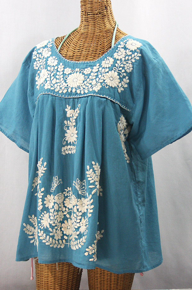 """La Mariposa Libre"" Plus Size Mexican Peasant Blouse - Pool Blue + Cream"