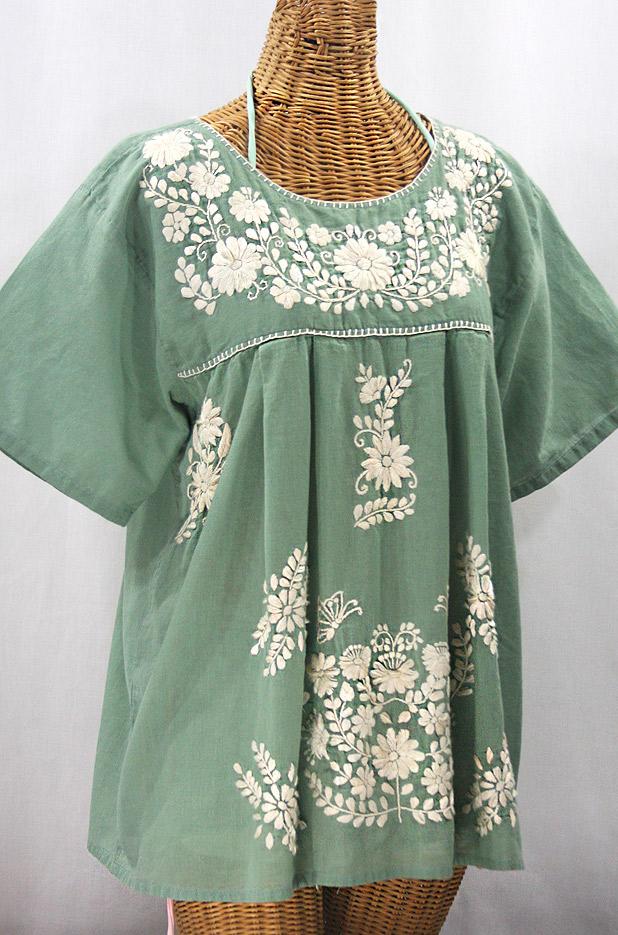 """La Mariposa Libre"" Plus Size Mexican Peasant Blouse - Sage Green + Cream"