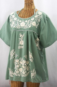 """La Mariposa Libre"" Plus Size Mexican Peasant Blouse - Sage Green + Cream"