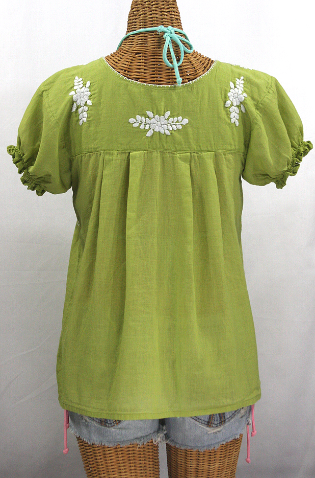 """La Mariposa Corta"" Embroidered Mexican Style Peasant Top - Moss Green"