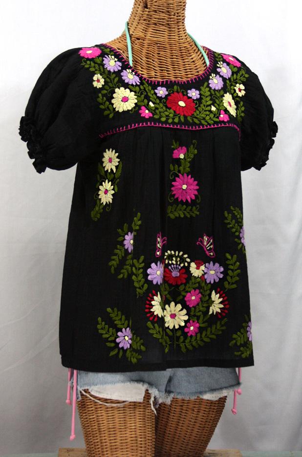"""""""La Mariposa Corta de Color"""" Embroidered Mexican Blouse - Black"""